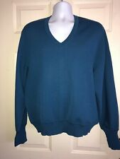 LEROY KNIT Men's Royal Blue Pure Wool X Large V Neck Sweater Vintage #x