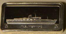 M.S. MERMOZ, OCEAN LINER SHIP 2+ ozt .925 SILVER FM ART BAR - RARE