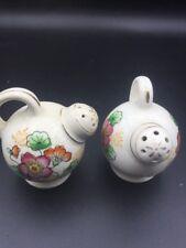 """Vintage 1930s Salt & Pepper Shakers Floral Flower Pattern Milk Gold Trim 2"""""""