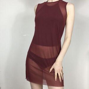 Red Mesh Mini Dress 10 M Shift Dollskill Club Festival Slip Purple Unif y2k 90s
