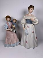 Lot of 2 Vintage HOMCO Lady Figurines Virginia Lynn Boy Mother 1460 1463