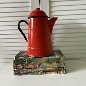 Vintage Enamel 1L Coffee Pot Red Poland Shabby Chic Camping Display Retro