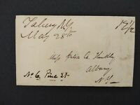New York: Taberg 1845 Stampless Cover, Ms, Oneida Co to Albany, NY