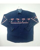Vintage Men's Wrangler Western Shirt Snap Buttons Cowboy USA Flag/ Eagle Size XL