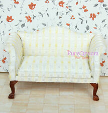 1/12 Dollhouse Furniture Couch Sofa Armchair With Carved Leg Made of Cloth& Wood