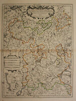 "kol. Kupferstichkarte Jaillot ""Partie Occidentale du temporel"" 1701 Mosel sf"