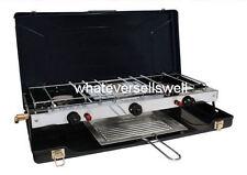 portátil doble cocina de gas con grill 2 Burner para camping Electronic IGNITION