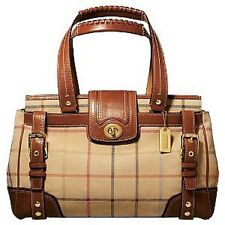 COACH HAMPTONS LG VINTAGE PLAID SUEDE TATTERSALL CARRYALL TOTE BAG PURSE SATCHEL