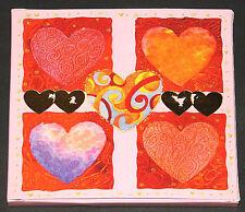 CD-Geschenkschachtel, Herzen, rosa & gold, Verpackung, Faltkarton, NEU & OVP