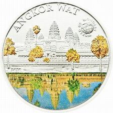 Palau 2010 Cambodia Angkor Wat 5 Dollars Colour Silver Coin,Proof