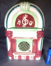 Juke Box Ceramic Cookie Jar Storage Container MINT Great Display Piece Or Candy