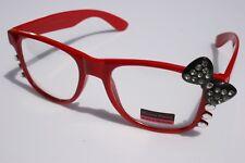 Fashion Women way Rhinestone Red black Bowtie Hello Kitty Glasses Clear Lens