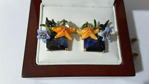 Les Nereides lazuli Rhinestone & enamel Sea star stud earrings