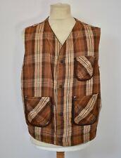 Vtg DIESEL Reversible Brown Suede Leather & Check Cotton Vest Gilet Jacket Large
