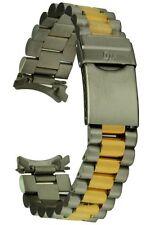 Acciaio Inossidabile CINTURINO BICOLORE CON CONNETTORE ROTONDO - 18 mm RICAMBIO Uhrband