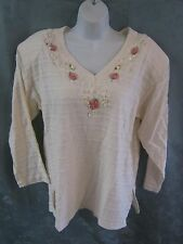 Vintage 90's Basil Top Floral Embellished 100% Cotton Textured Stripe NOS