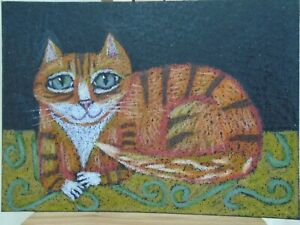 Cats Ollietuxedo Original Orange Tabby on a Throw Rug ACEO CAT ATC Orange Tabby
