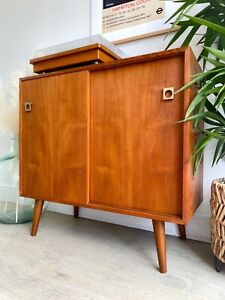 Mid century vintage retro Danish style sideboard media record console cabinet