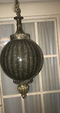 Mid Century Modern METAL & Smoked Glass Globe Pendant Light Fixture !
