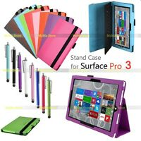 Luxury Leather Folio Stand Case Cover for 12 Inch Microsoft Surface PRO 3 Tablet