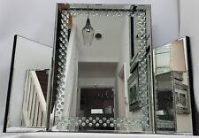 Silver Dressing Table Mirror Floating Crystal Effect Elegant Bling