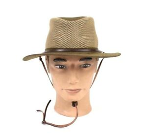 Orvis Olive Wide Brim Mesh Breezer Fishing Hat Drawstring Chin Cotton Mens S - M