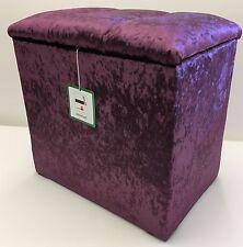 STORAGE BOX / LINEN BOX / DRESSING TABLE STOOL PURPLE VELVET CRYSTAL LID