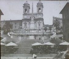 Spanish Steps and Trinity Church, Rome, Italy, Magic Lantern Glass Photo Slide