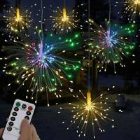 Hanging Firework LED Fairy String Light 8 Mode Remote Christmas Party Xmas Decor