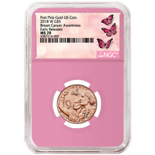 2018-W UNC $5 Gold Breast Cancer Awareness NGC MS70 ER Label Pink Core