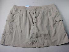 New Columbia Womens Skort Size XL Beige Cargo Stretch Waist 100% Nylon