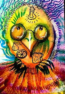 ACEO Bright Owl Ideas, Thanks Owls,  Original Marker, Watercolor, Ink
