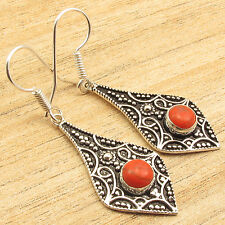 Inch, Silver Plated Inexpensive Jewelry Orange Copper Turquoise Earrings 1.9