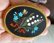 Large Victorian 22K Yellow Gold Pietra Dura Floral butterfly broach c.1860