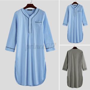 Homme 100% coton pyjamas vêtements de nuit à manches longues caftan robe de nuit