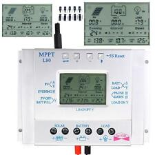 80A MPPT Solar Panel Regulator Charge Controller 12/24V Auto Switch+Connector WT