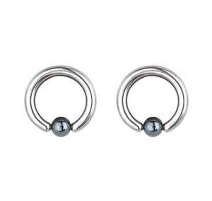 "Pair of Steel Captive Bead Ring w/6mm Hematite Ball 8 Gauge 5/8"" Dia"