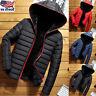 Men Hooded Long Coat Winter Warm Padded Outwear Casual Fashion Parka Jacket USA
