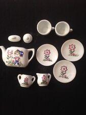 10 Piece Vintage Girl's Tea Party Set Porcelain Cups Saucers Tea Pot Sugar Cream