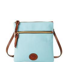 Dooney & Bourke Nylon Double Zip Crossbody Shoulder Bag Light Blue