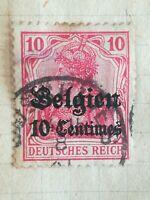 N°348 Timbre oblitéré avec charnière Allemagne 10p Rouge surchargé belgien couro