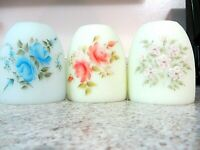 "Lot (3) Fenton 3""  Fairy Light Tops, Hand Painted Roses, Pink Blossoms"