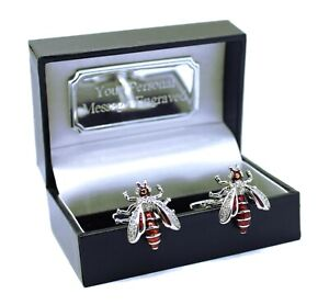 Wasp Bees Insect nature crystal Mens Gift cuff links + Personalised Gift Box