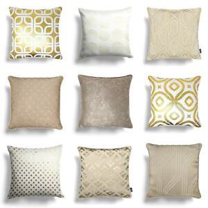"""Gold Cushion Covers Cream Natural Metallic Sparkle Throw Cushion Cover 17"""" x 17"""""""