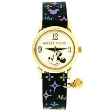 Disney MU3006 Mickey Mouse Ladies Genuine Leather Multi-Printed Watch w/ Charm