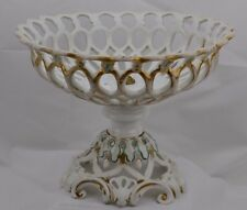 Antique Old Paris Large Reticulated Compote Gold Trim