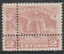 Paraguay 6737 - 1952 Columbus phare 2 C Double perforations faux non montés Comme neuf