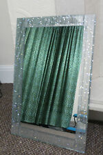 LARGE SILVER GLITTER FRAME WALL MIRROR SILVER SPARKLE GIRLS ROOM MIRROR NEW*