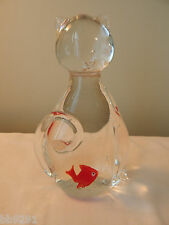 Tall Cat & Red Fish Glass Paper Weight HTF Figurine Figure