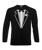 TUXEDO T-SHIRT LONG SLEEVED STAG FANCY DRESS PARTY LONG SLEEVE